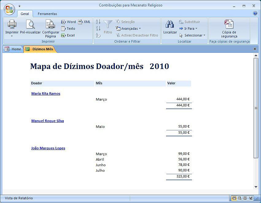 Mapa de Dízimos doador/mês